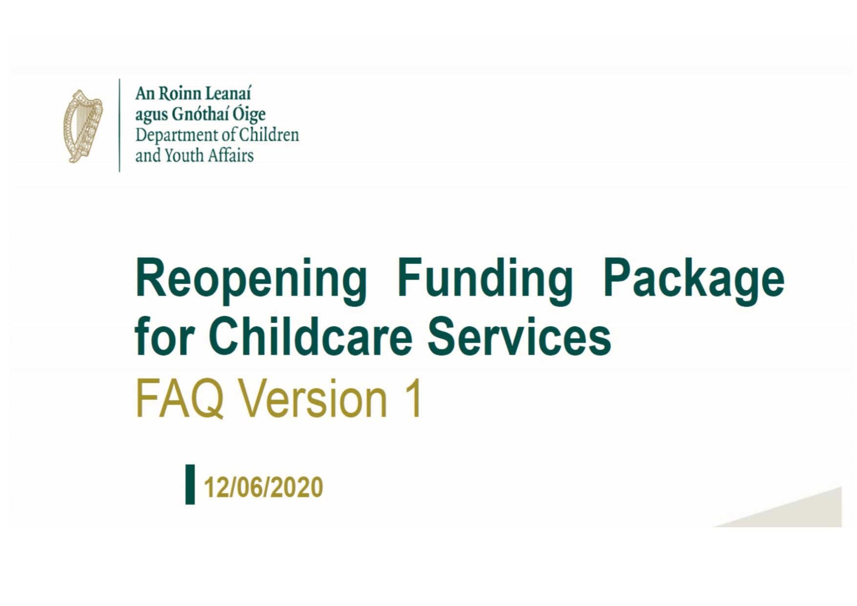 FAQ Reopening package V1