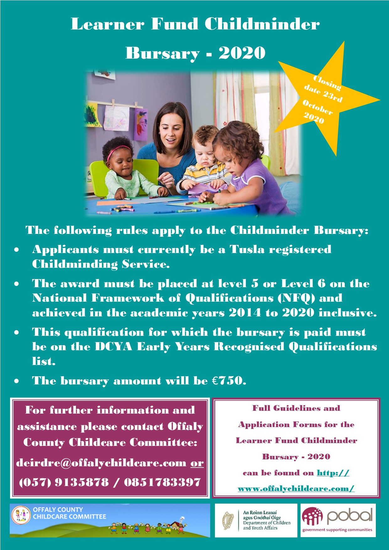 Poster Learner Fund Childminder Bursary 2020
